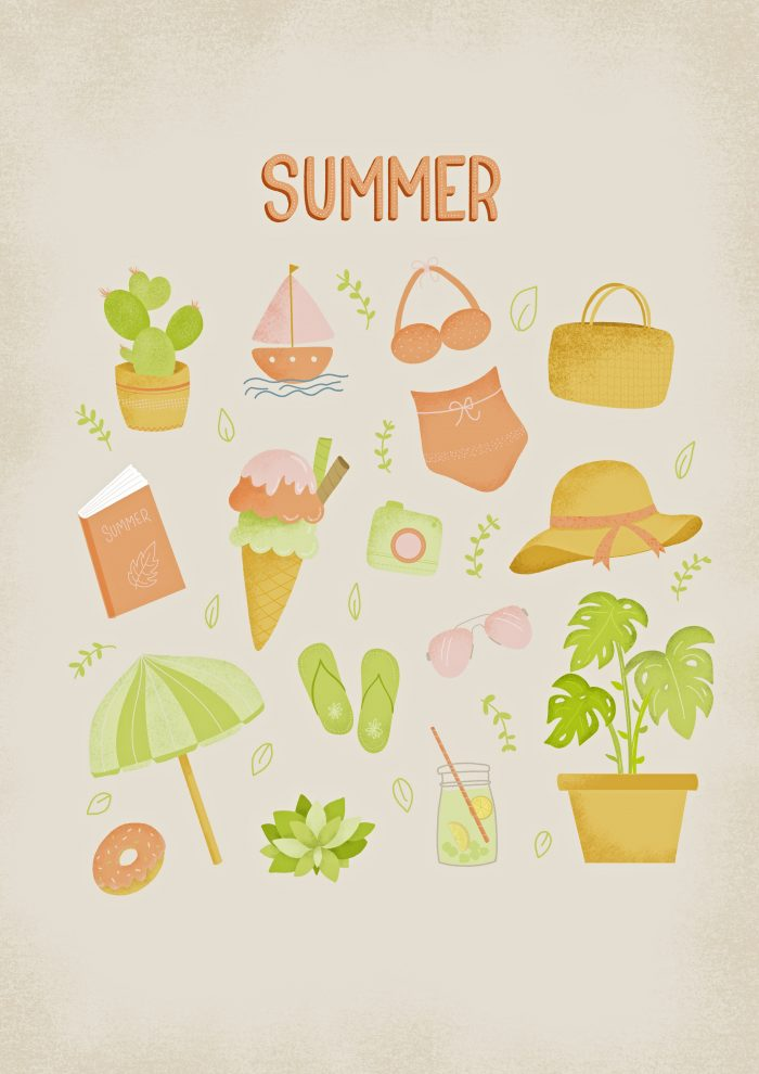 Summer illustration sheet