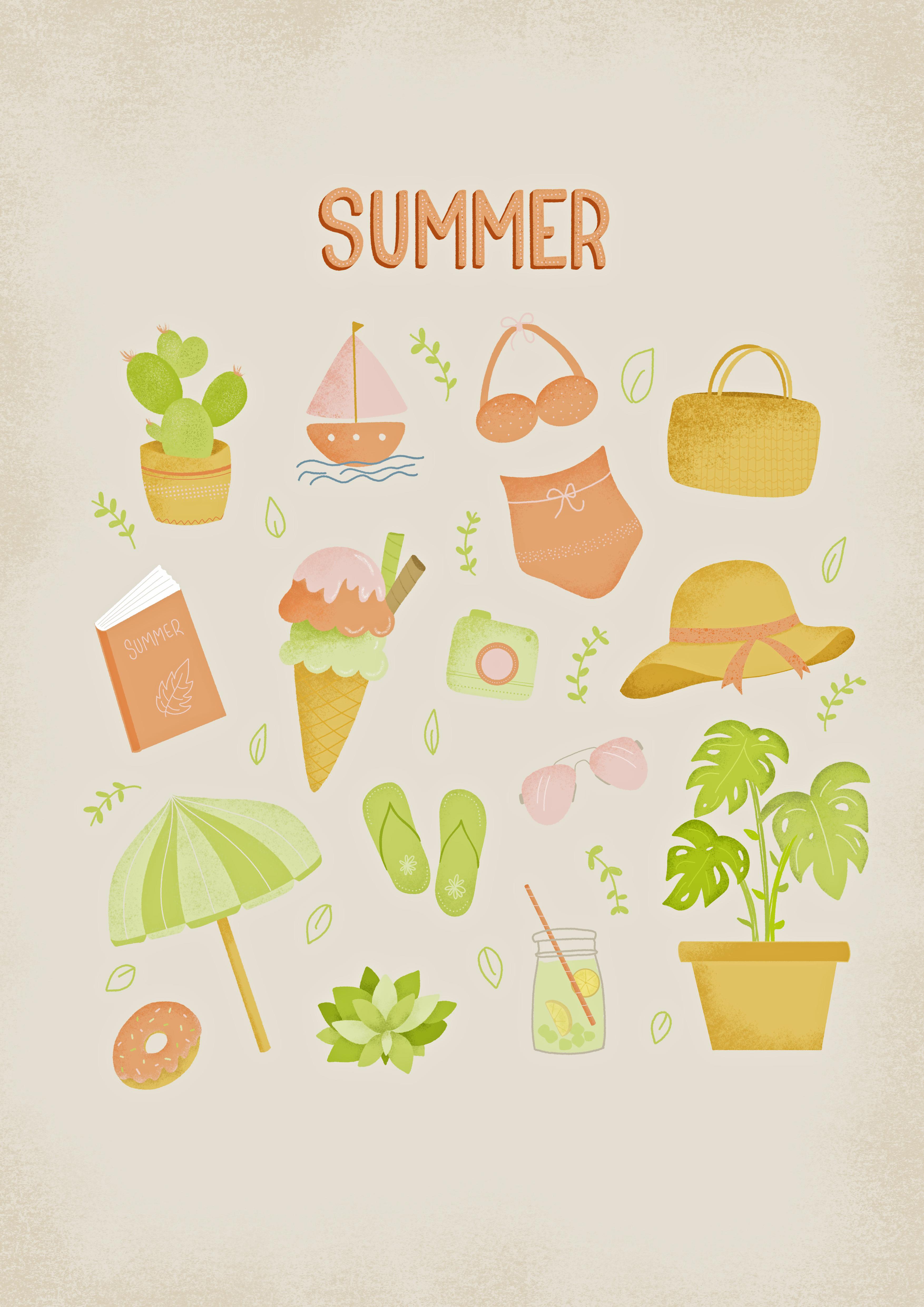 Summer illustration sheet